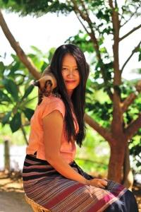 Princess Inle Resort - Misuu owner with Burmese cat